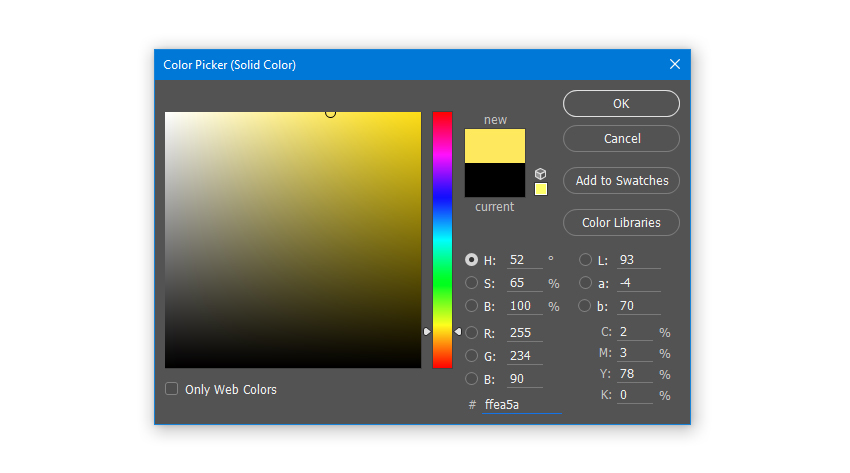 Create a Solid Color Fill layer with hex color code ffea5a