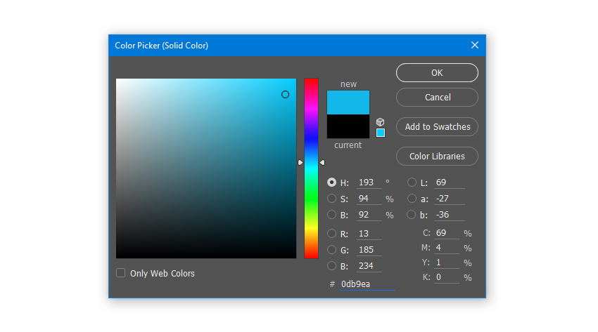 Create a Solid Color Fill layer with hex color code 0db9ea