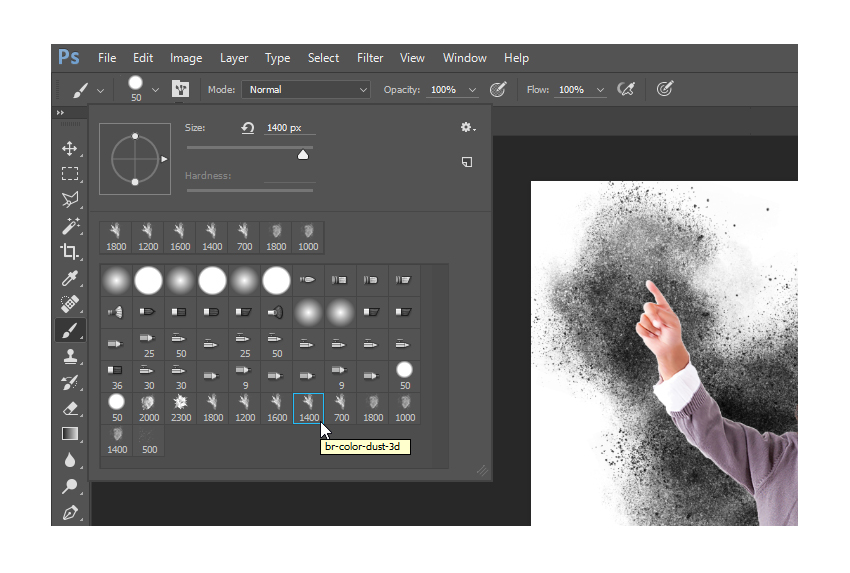 Select the br-color-dust-3d brush