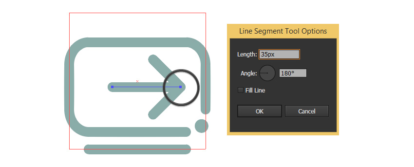 Create a line from arrows edge