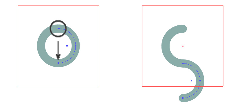 Move the right half-circle