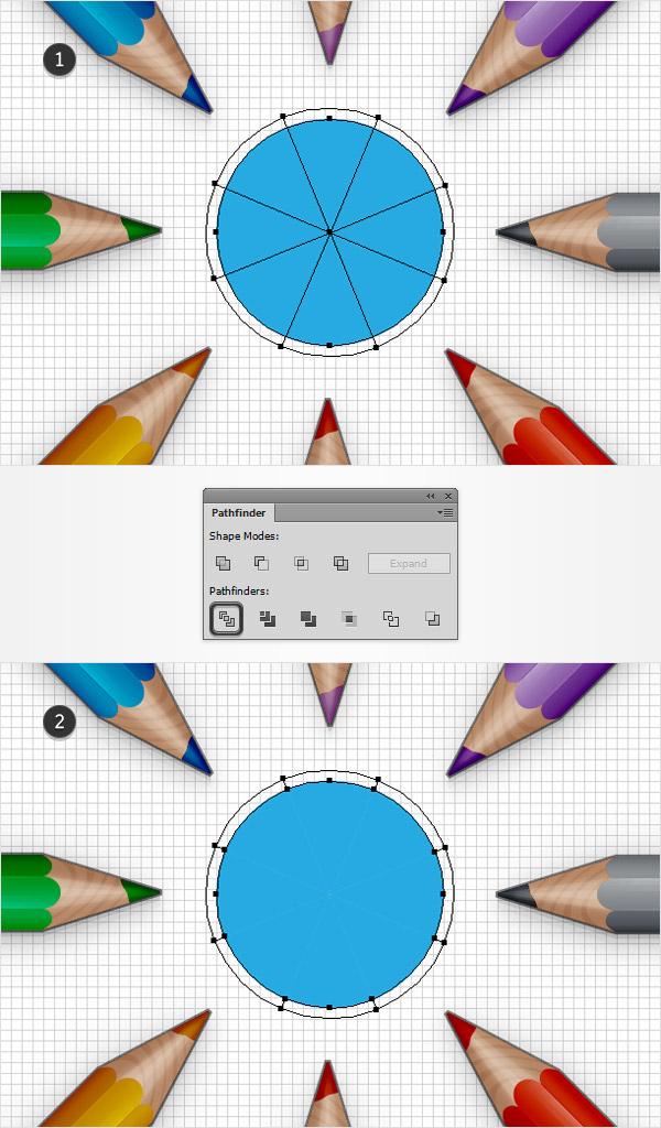 divide blue circle