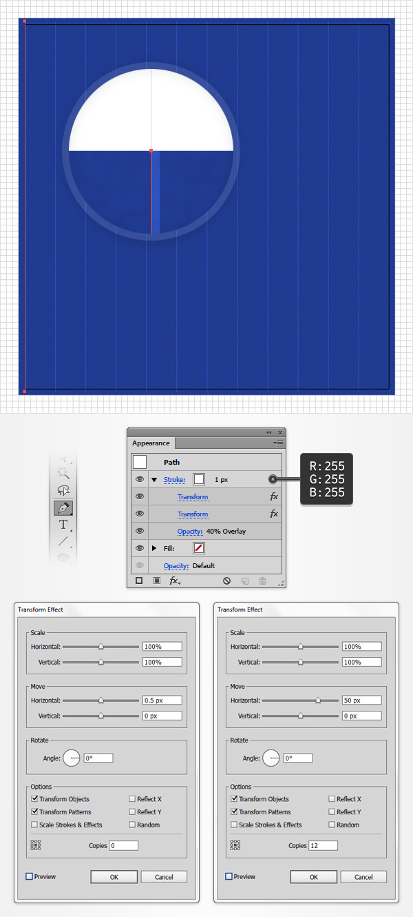 How to create a blueprint text effect in adobe illustrator this time drag the move horizontal slider to 50 px and enter 12 in that bottom copies box malvernweather