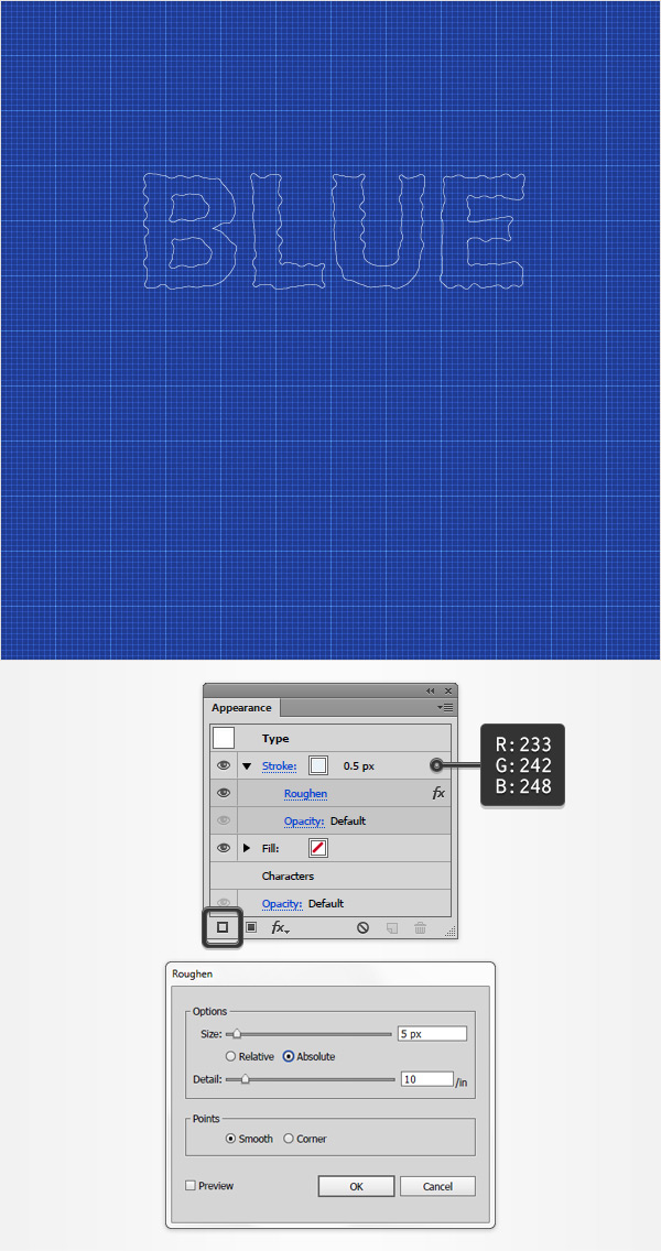 How to create a blueprint text effect in adobe illustrator set the weight to 05 px replace the existing color with r233 g242 b248 and then go to effect distort transform roughen malvernweather Image collections