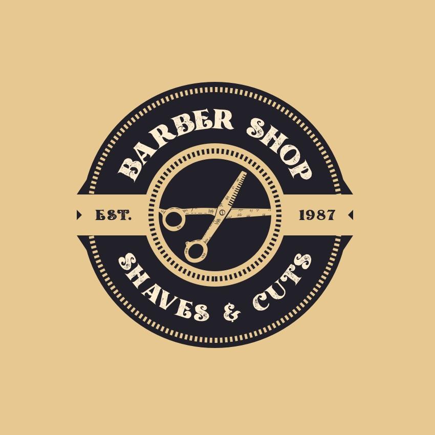 old school barber shop logo design