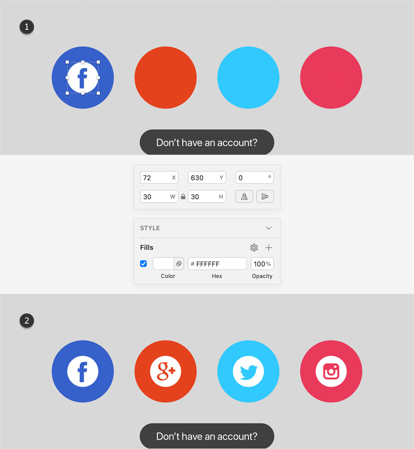 sketch design social icons
