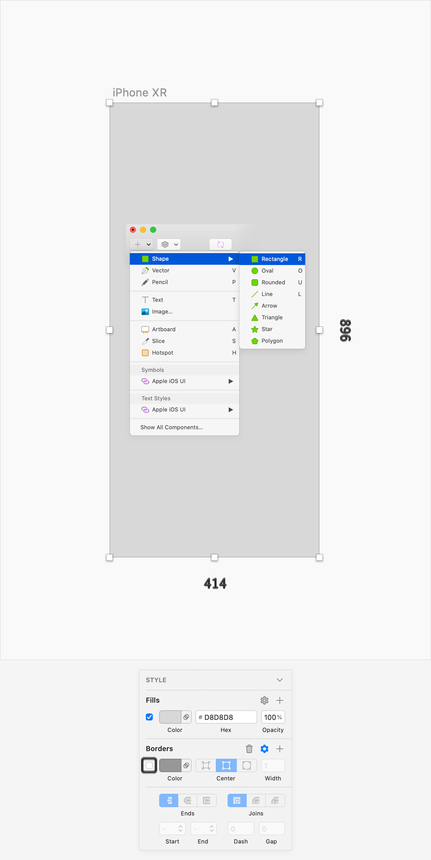 sketch UI design rectangle