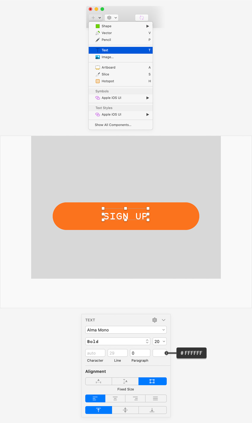 sketch UI design text