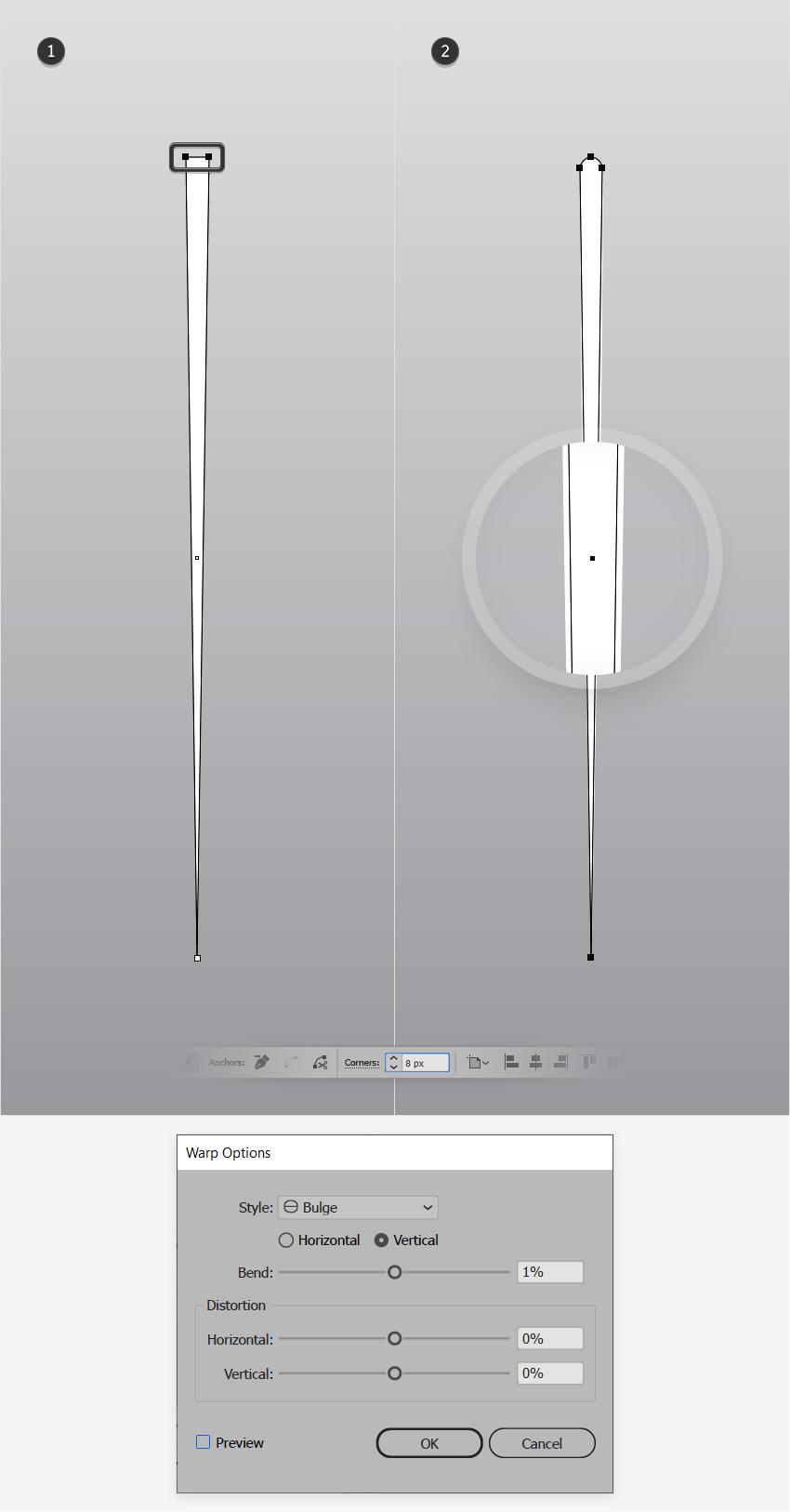 Góc bán kính Warp Bulge