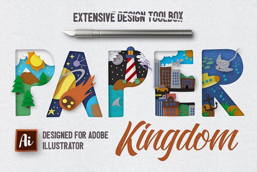 paper cutout text effect illustrator