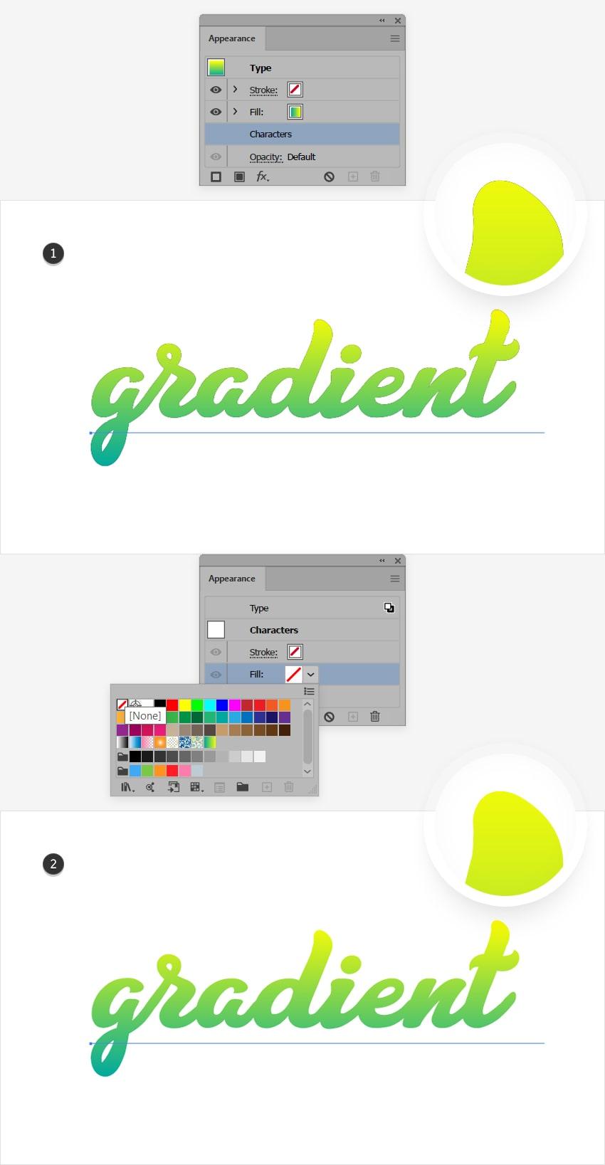 apply gradient text illustrator