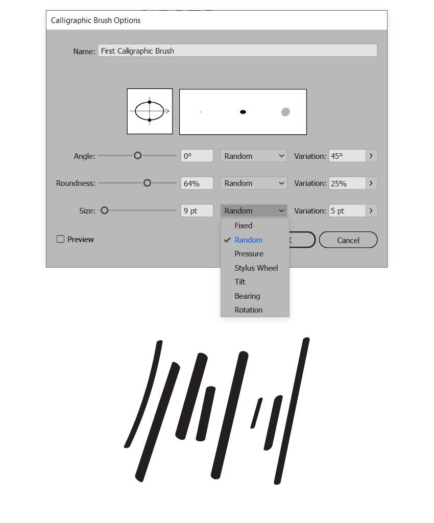 calligraphic brush random size