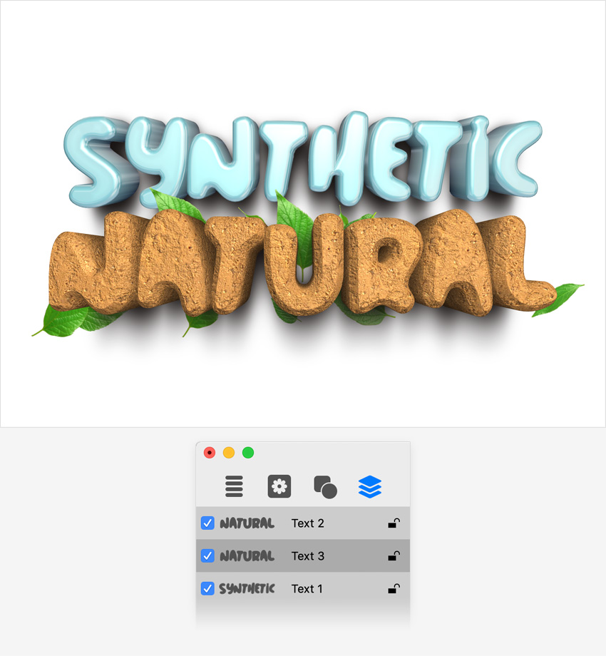 art text layers