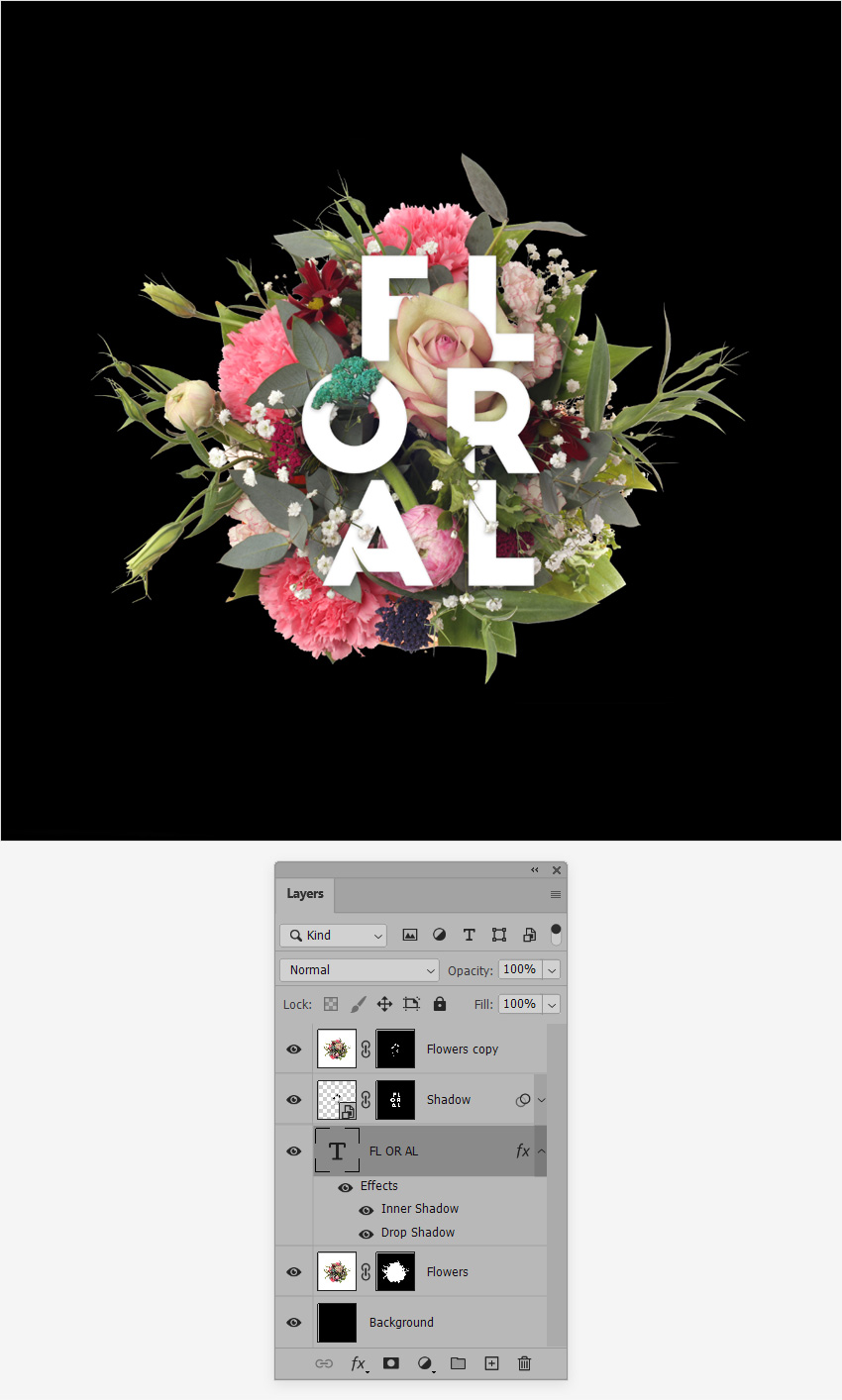 flower text layer style