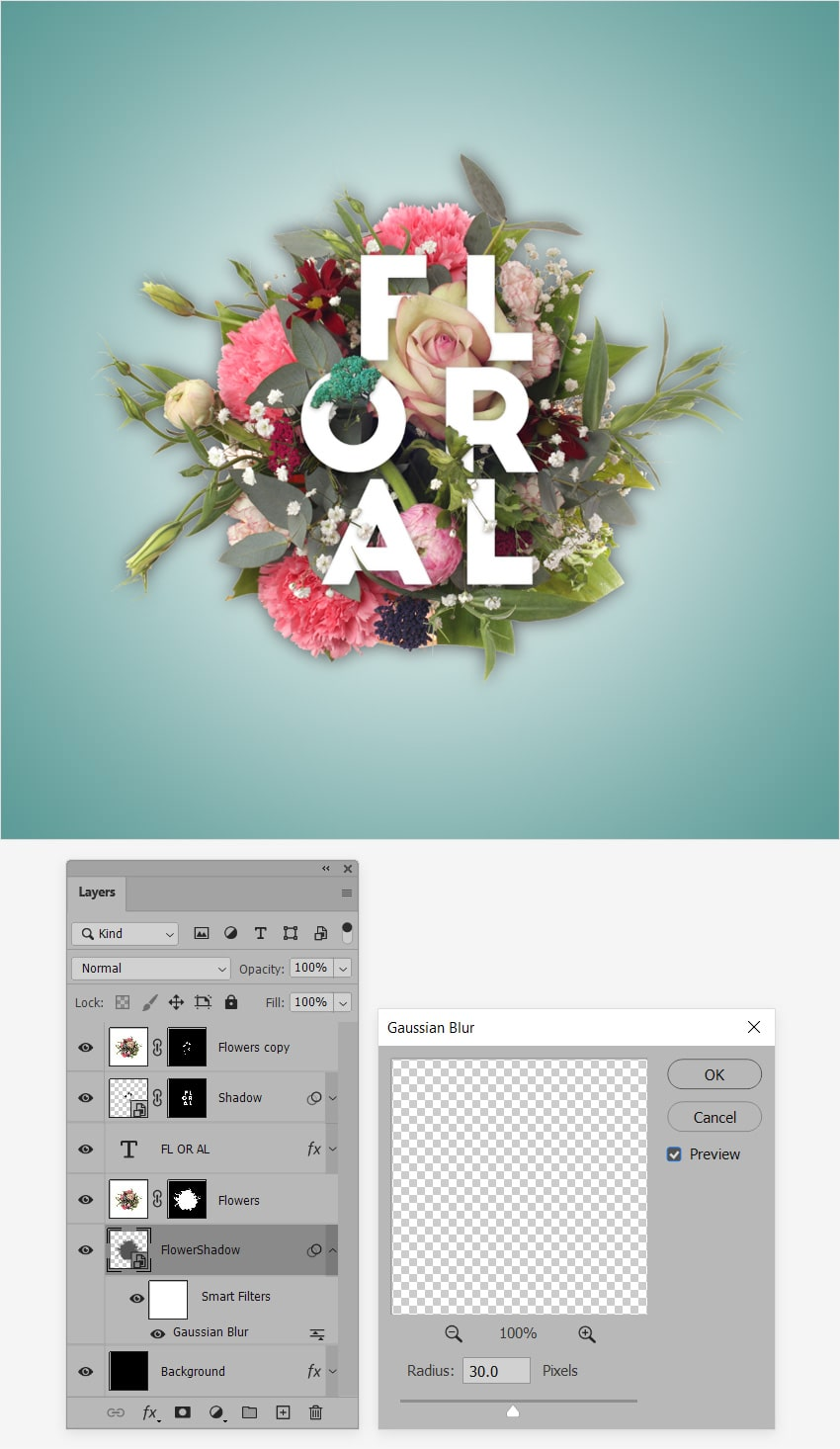 flower text shadow blur