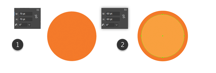 Creating of the two basic shapes of the Orange