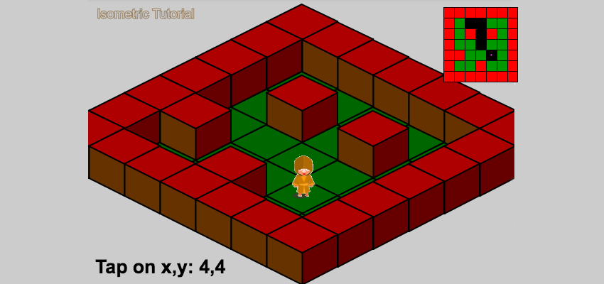 Isometric level with the newly found path highlighted in minimap