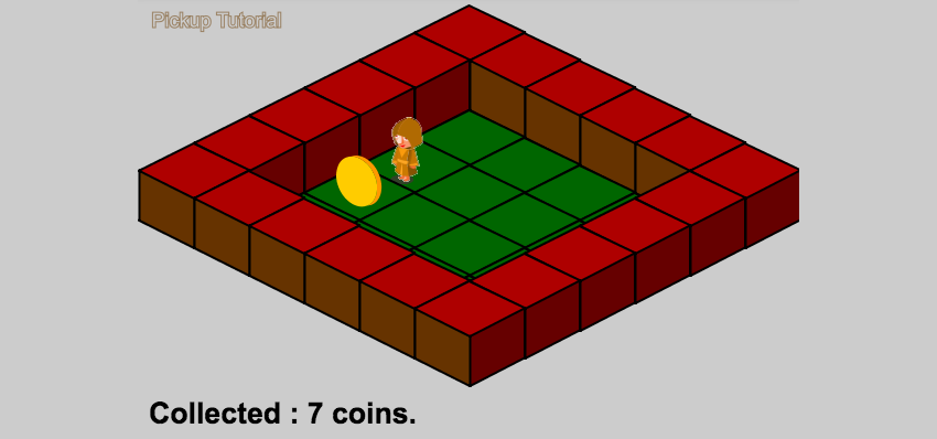 Isometric level with coin pickup