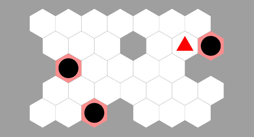 hexagonal sokoban finished level