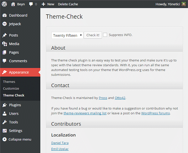 Theme Check screenshot