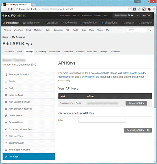 API Keys page on ThemeForest