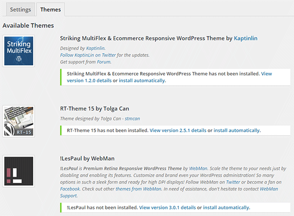 Themes tab showing available themes