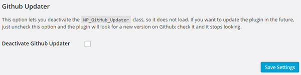 Deactivate Github updater box