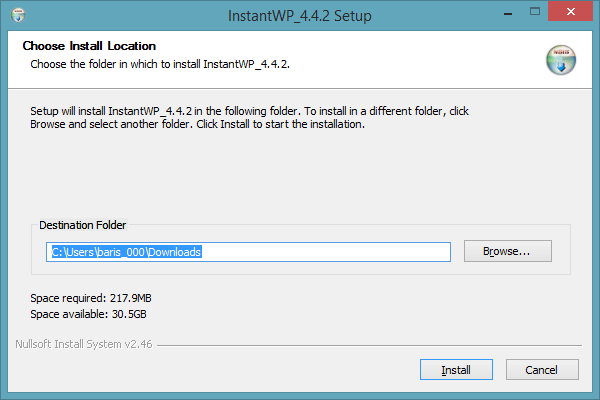Instant WordPress installation screen