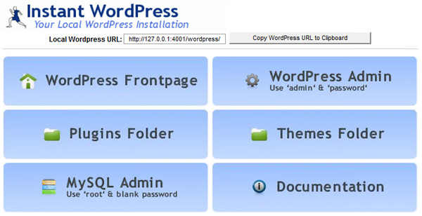 Instant WordPress main window