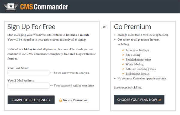 CMS Commander sign-up page