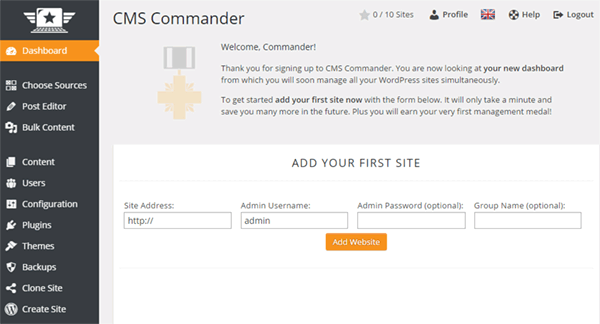 Adding your websites in the CMS Commander dashboard