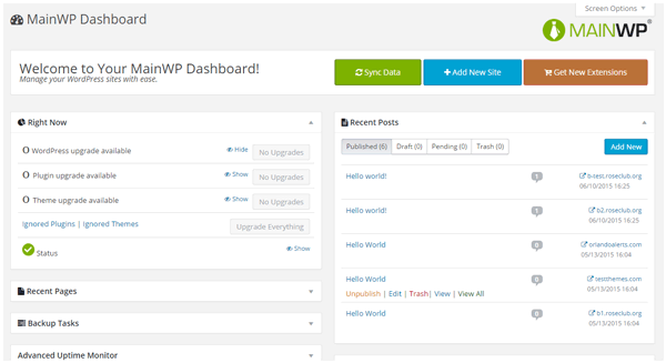 MainWP dashboard