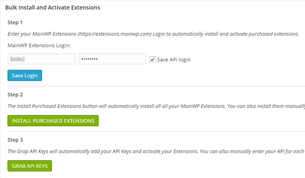 Installing and activating premium MainWP extensions