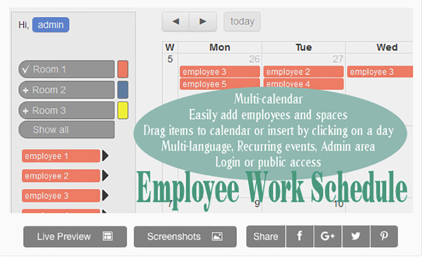 Employee Work Schedule  Multi-calendar