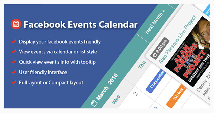 Facebook Events Calendar For PHP