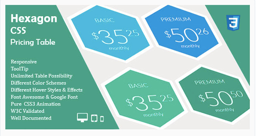Hexagon CSS Pricing Table
