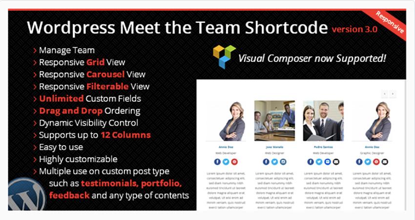 WordPress Meet the Team Shortcode Plugin