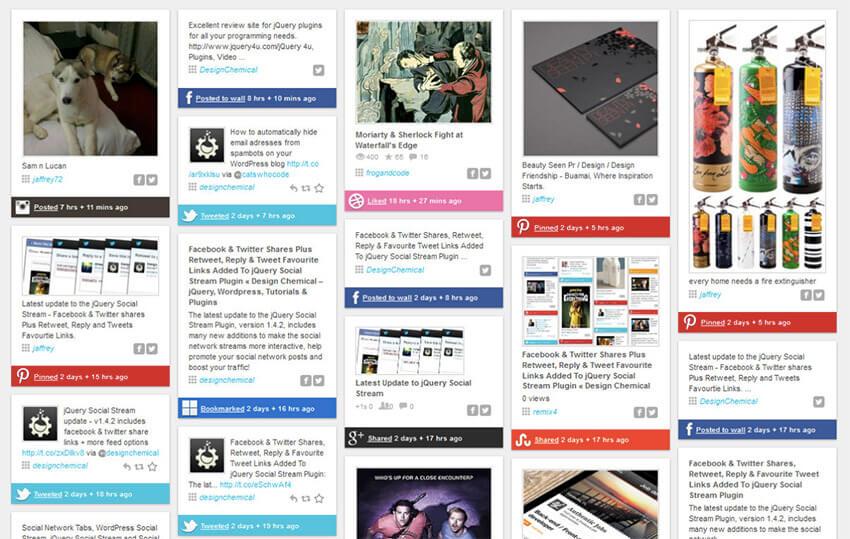 Sección en página web que presenta el feed de distintas redes sociales