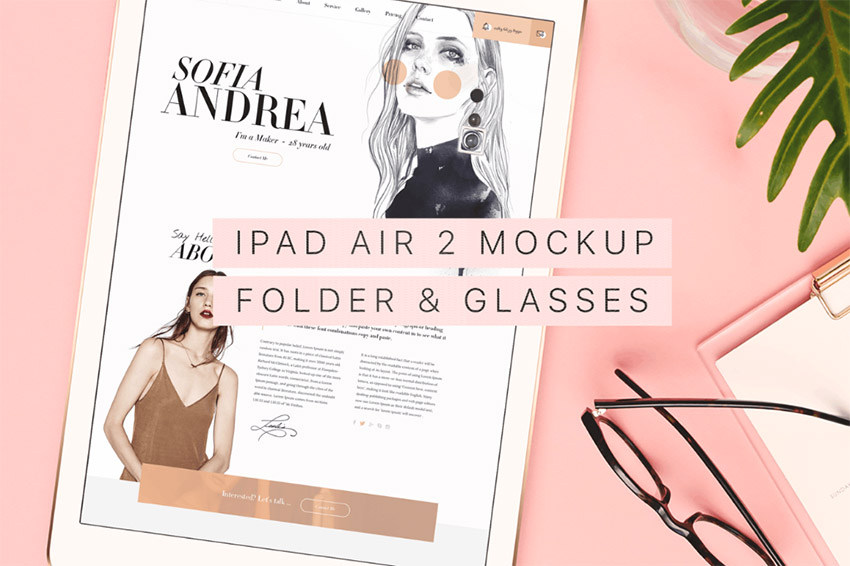 Beautiful  Trendy iPad Air 2 Mockup