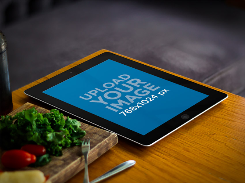 iPad Mockup Black Device on Bistro Table