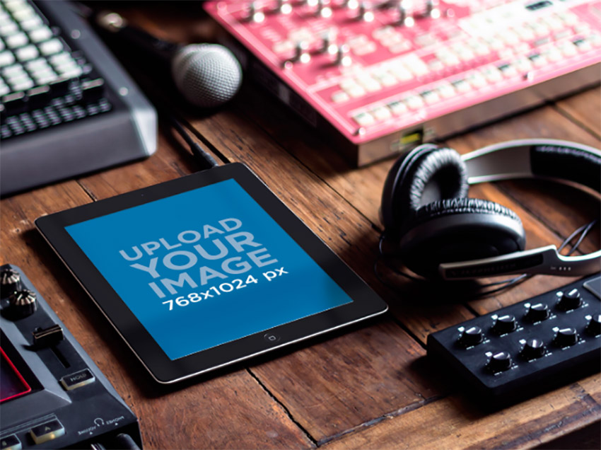 iPad Mockup Black Portrait in Dj Studio