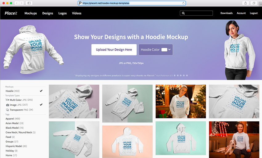 1e1483b7 1. Navigate to Placeit's Hoodie Mockup Page. Sign Up for Free!