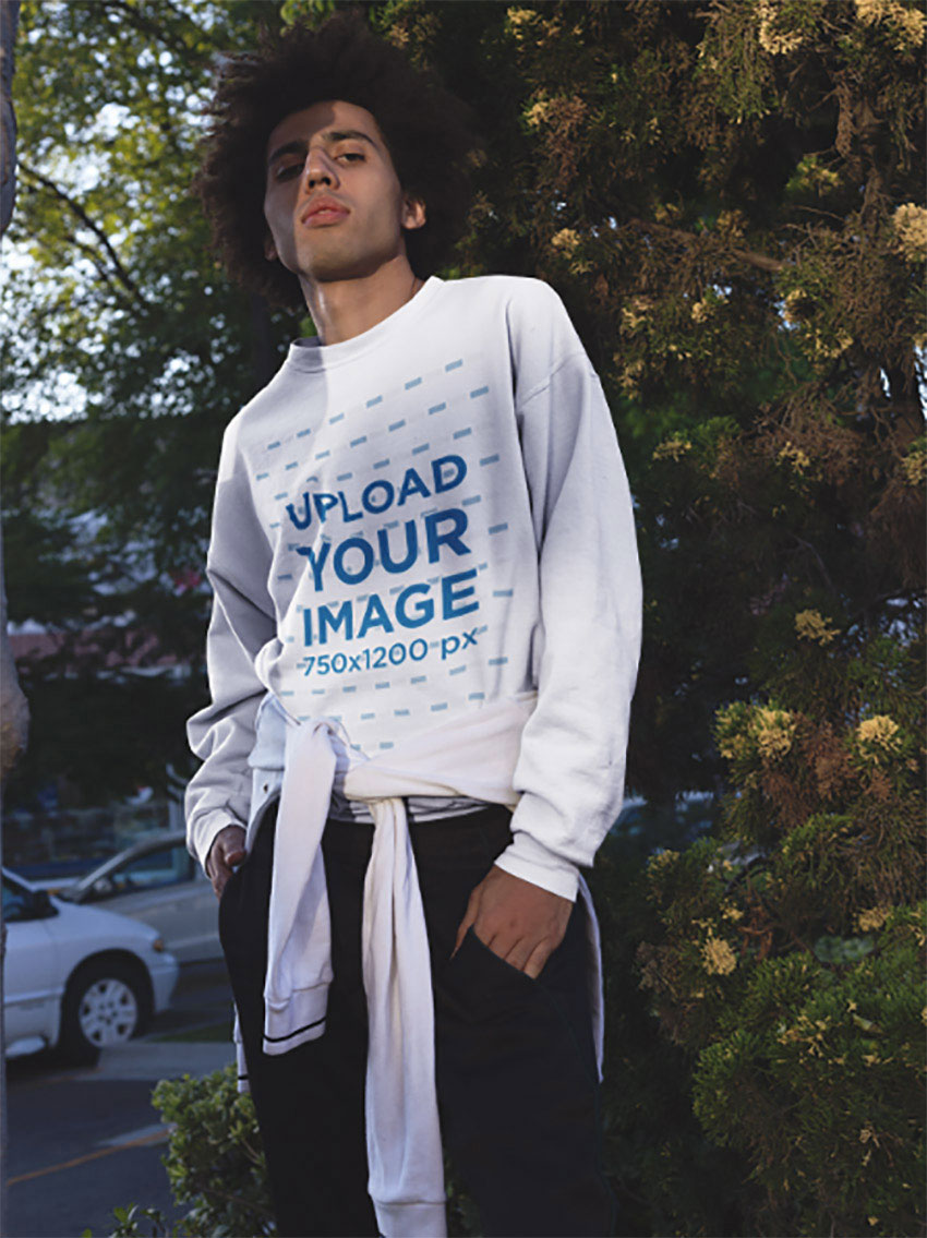 Sweater Mockup of a Young Man Outdoors