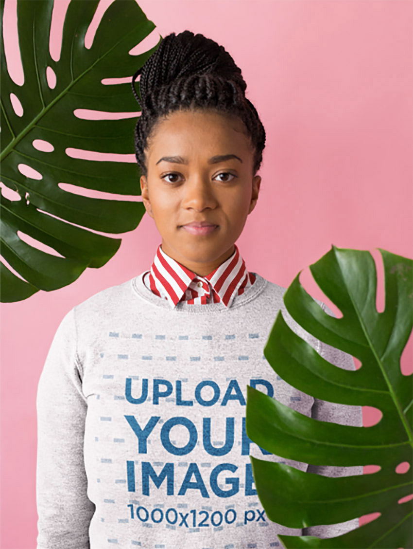 Sweatshirt Mockup Featuring a Woman Wearing a Collared Striped Shirt