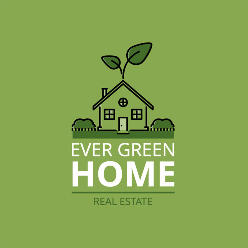 Ecohouse Cool Agency Logo Design Real Estate