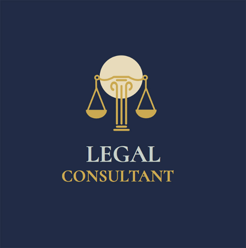 Legal Consultant Logo Maker with Scales of Justice