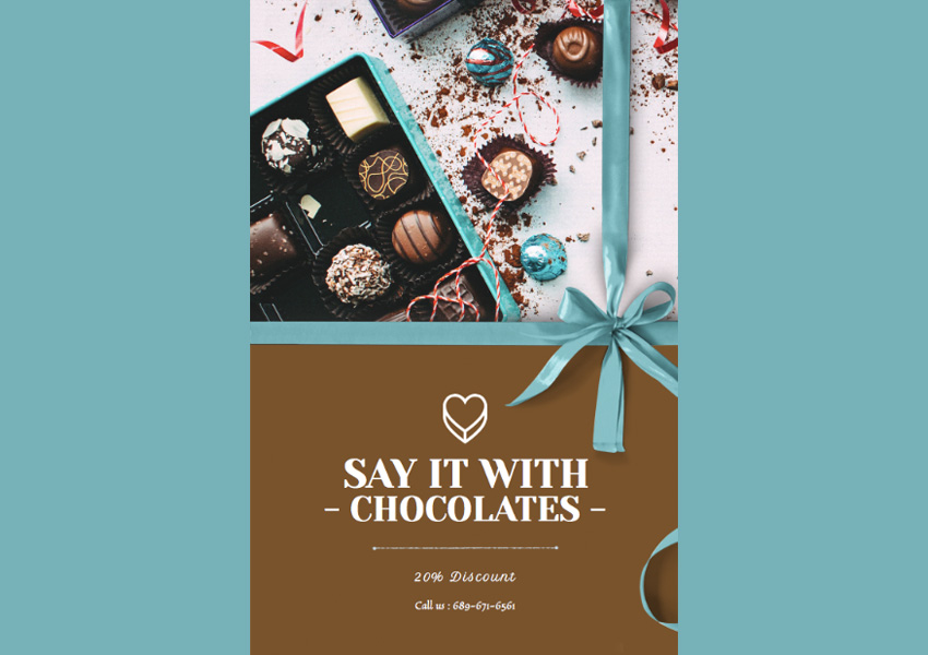Flyer Design Template for Chocolate and Flower Shops
