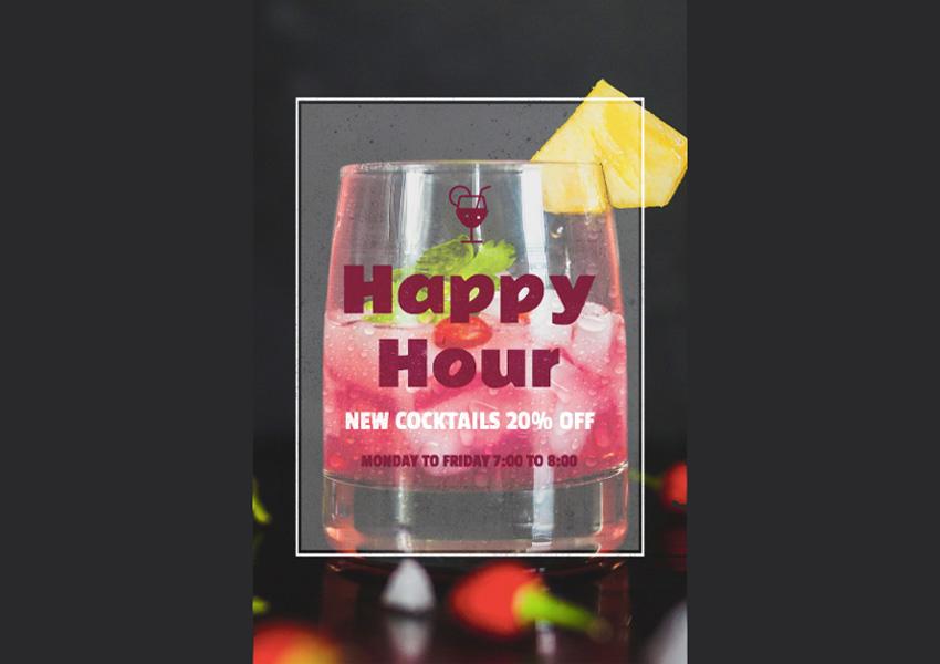 Bar Promotion Happy Hour Online Flyer Maker
