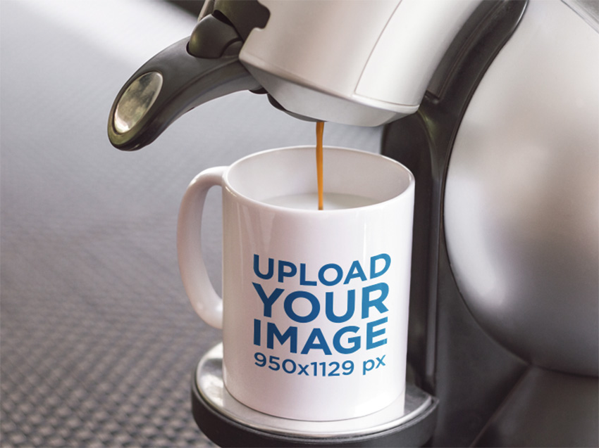 Mug Mockup Featuring an Espresso Machine