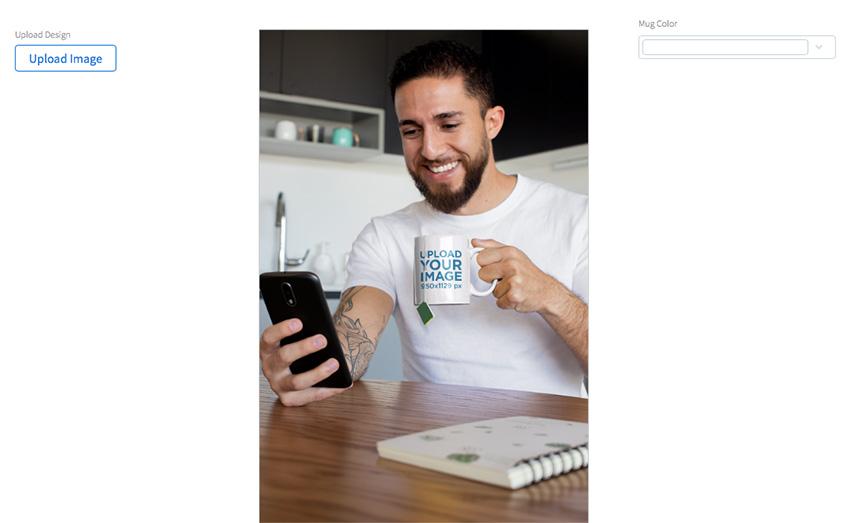Mug Mockup of a Man Having Some Tea at Home